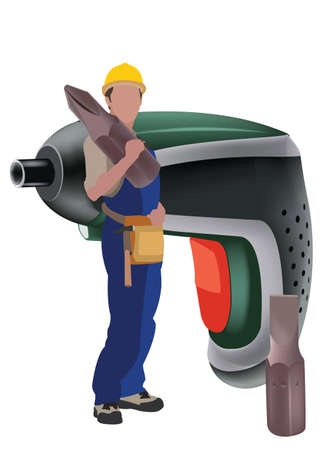 person in work suit with work tool on his shoulders