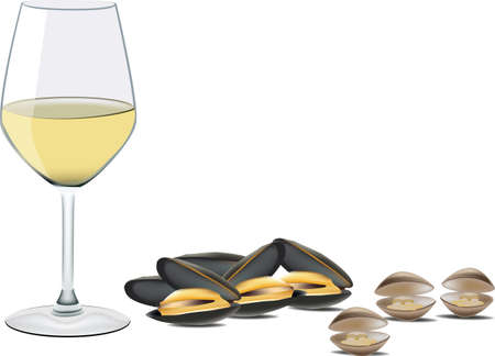 glass of white wine with mussels and clams