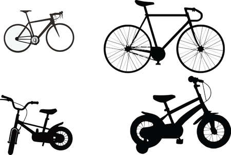 some bicycles of various shapes and models in black