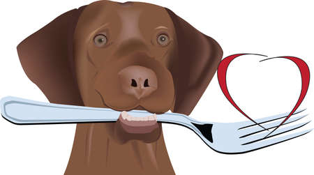 dog with fork in his mouth dog with fork in his mouth Çizim