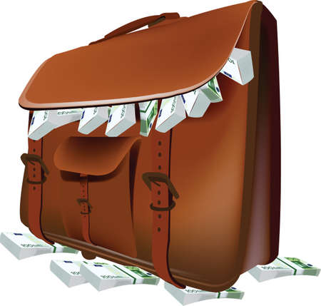 leather purse containing euro currency  イラスト・ベクター素材