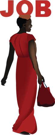 black woman looking for work 矢量图像