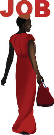 black woman looking for work Illustration