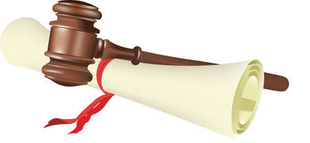 parchment with judicial auction gavel