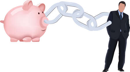 high-ranking person chained with piggy bank bank