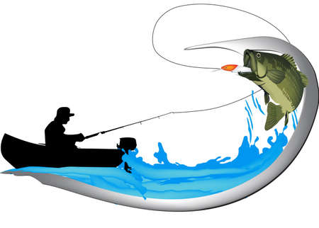 black bass spinning sport fishing sticker