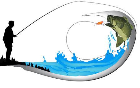 black bass spinning sport fishing sticker Vecteurs