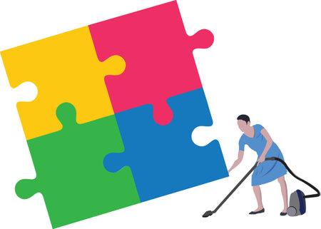cleaning oersona raises piece of puzzlepuzzles Vecteurs