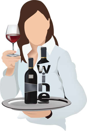 woman with tray and wine food products