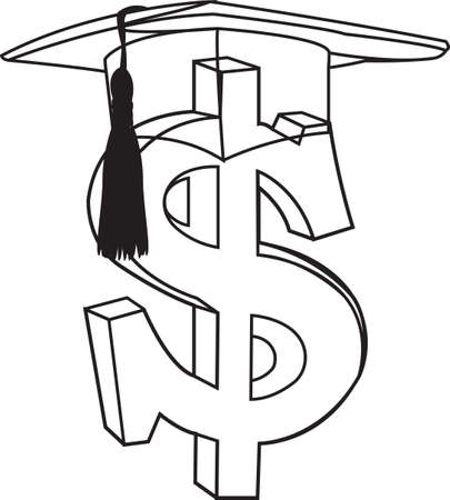 dollar sign with doctoral hat