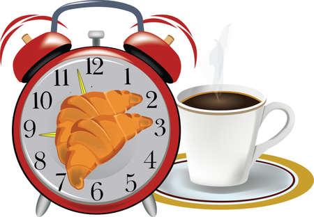 coffee alarm clock croissant breakfast