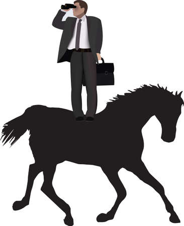 distinguished person standing on the horse