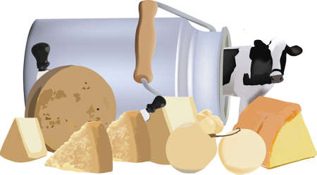 bovine coming out of the milk container and various cheeses
