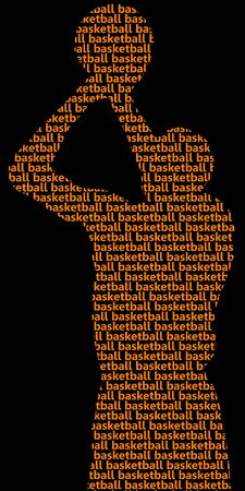 Basketball player silhouette of words Vector