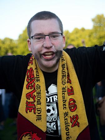 FK Hradec Kralove supporter celebrate promotion to Czech highest league  4 6 2014