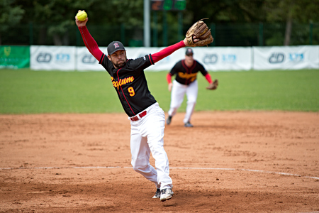 Belgian pitcher Wout Cnops in match with Denmark _ Men's European Softball Championship 2014 _ Pardubice 14 7 2014