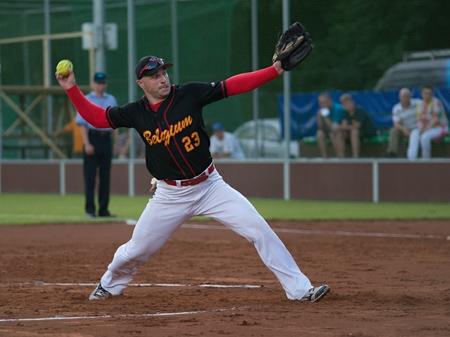 Belgian pitcher Jan Zelenka in match with Czech Republic _ Men's European Softball Championship 2014 _ Havlickuv Brod 14 7 2014