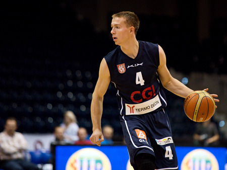 winger: Decin winger Tomas Vyoral. 2st round of Kooperativa national basketball league between BK JIP Pardubice and BK Decin ends with score 79:70 Editorial