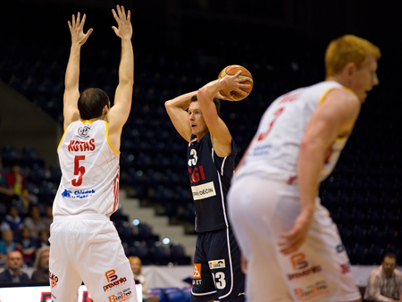 stria: Lubos Stria and Lukas Kotas. 2st round of Kooperativa national basketball league between BK JIP Pardubice and BK Decin ends with score 79:70 Editorial