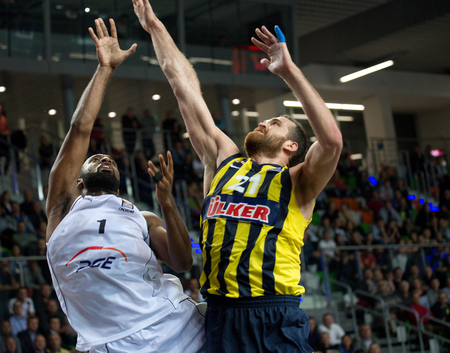collins: Mardy Collins a Oguz Sava?.2nd round Euroleague basketball match between the PGE Turow Zgorzelec and Fenerbahce �lker Istanbul. Played in Lubin on October 23, 2014