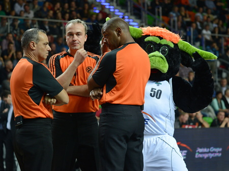 arbiter: Referees and mascot of Tur�w. 2nd round Euroleague basketball match between the PGE Turow Zgorzelec and Fenerbahce �lker Istanbul. Played in Lubin on October 23, 2014