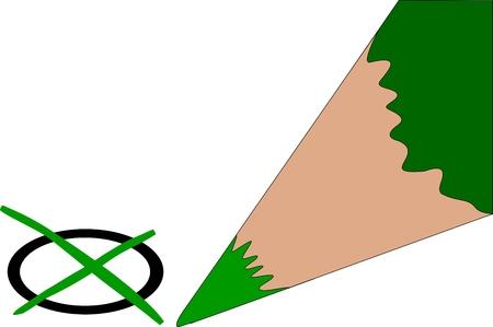 Green pencil crossing into the circle Vector