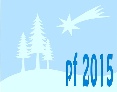 pour feliciter: Blue new year wish card, with tree and star 2015 Illustration