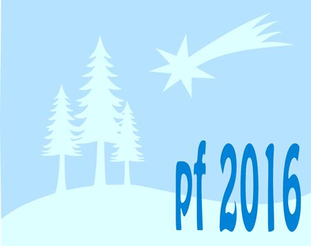 pour feliciter: Blue new year wish card, with tree and star 2016 Illustration