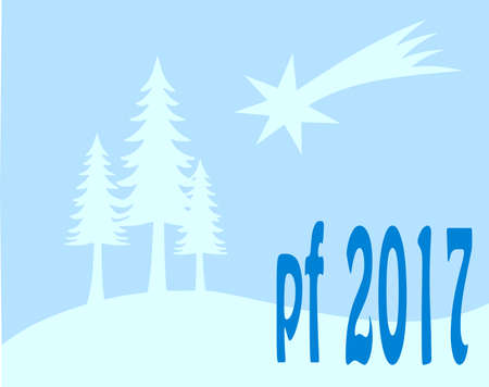 pour feliciter: Blue new year wish card, with tree and star 2017