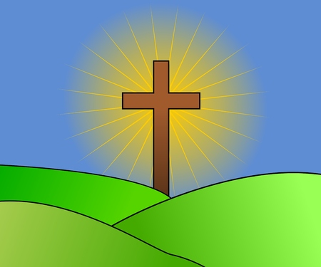 Cross with light on landscape background