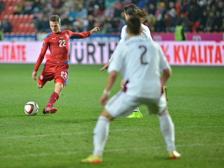 Prague 03.28.2015 _ Vladimir Darida, Igors Tarasovs and Vitalijs Maksimovs. Match of the EURO 2016 qualification group A Czech Republic - Latvia 1: 1 (0: 1).