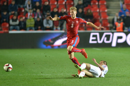 Prague 28.03.2015 _ Vaclav Prochazka and Arturs Zjuzins. Match of the EURO 2016 qualification group A Czech Republic - Latvia 1: 1 (0: 1).