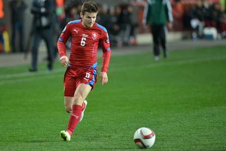 Prague March 28, 2015 _ Vaclav Pilar of Czech Republic .Match of the EURO 2016 qualification group A Czech Republic - Latvia 1: 1 0: Goals 1st 90 Pilar - 30 Vinakovs. Redakční