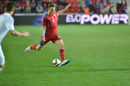 Praha 28 března 2015 _ Bořek Dočkal (CZE). Utkání EURO 2016 kvalifikační skupiny A Česká republika - Lotyšsko 1: 1 (0: 1). Cíle 90 'Pilar - 30' Vinakovs.