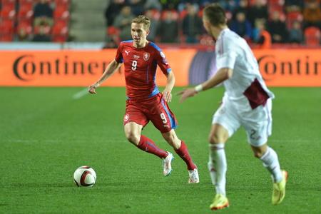 Praha 28 března 2015 _ Borek sbíral. Utkání EURO 2016 kvalifikační skupiny A Česká republika - Lotyšsko 1: 1 (0: 1). Cíle 90 'Pilar - 30' Vinakovs. Redakční