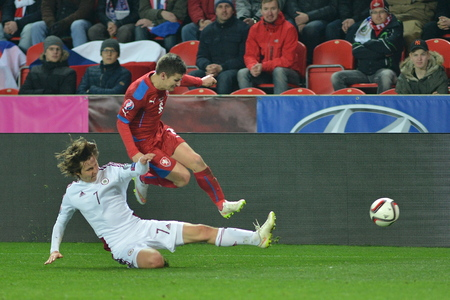 Prague March 28, 2015 _ Vaclav Pilar and Janis Ikaunieks Match of the EURO 2016 qualification group A Czech Republic - Latvia 1: 1 (0: 1). Goals 90 Pilar - 30 Vinakovs.