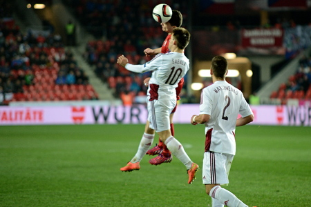 Prague March 28, 2015 _ David Lafata and Valerijs Sabala. Match of the EURO 2016 qualification group A Czech Republic - Latvia 1: 1 (0: 1). Goals 90 Pilar - 30 Vinakovs. Redakční