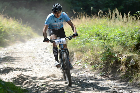 Bystrica p.Hostnem 01  AUG  2015 , Unknown mountain bike rider. Redakční
