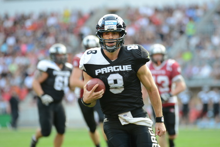07202015 PRAGUE _ Czech Bowl 2015 - Czech football league final match Prague Black Panthers vs. Pribram Bobcats.