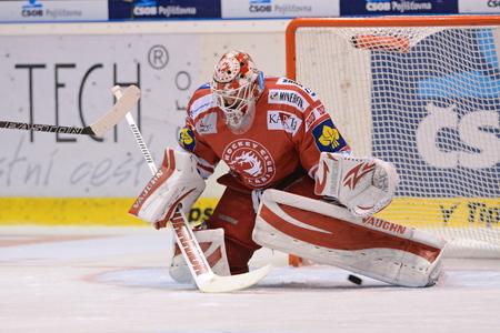 PARDUBICE 20  SEP  2015 _ Goalkeeper Simon Hrubec of Trinec. Match of Czech hockey league HC Pardubice - HC Ocelari Trinec