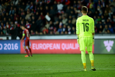 qualification: 10102015 PRAGUE _ tomáš vaclík. Match of the EURO 2016 qualification group A Czech Republic - Turkey