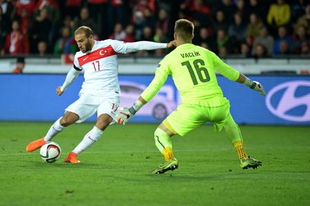 qualification: 10102015 PRAGUE _ Cenk Tosun and tomáš vaclík. Match of the EURO 2016 qualification group A Czech Republic - Turkey Editorial