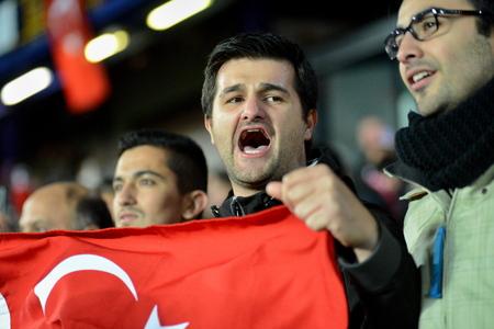 ultras: 10102015 PRAGUE _ Turkish fans. Match of the EURO 2016 qualification group A Czech Republic - Turkey