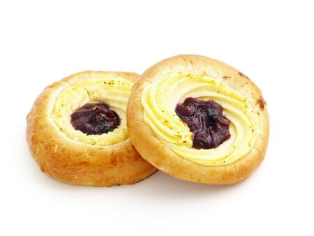 curd: a pair of buns stuffed with curd and blackberry jam