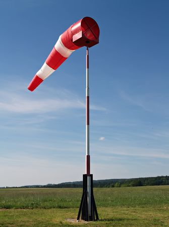wind sock at small airfield Stock Photo