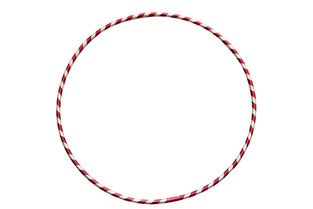 hulahoop: The hula Hoop silver with red isolated on white background. Gymnastics, fitness, diet. Stock Photo