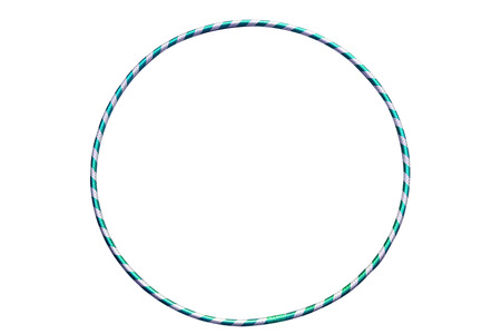 hulahoop: Gymnastics, fitness, diet. Versatile exerciser for sports, fitness and ballet.The hula Hoop light blue with silver isolated on white background.