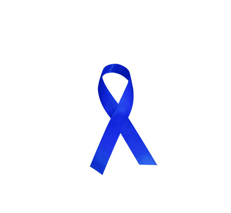 rectum cancer: Dark blue ribbon awareness. Symbolic concept of concern awareness campaign to help people living W  the disease is cancer of the rectum. Dark blue ribbon isolated on white background. Stock Photo