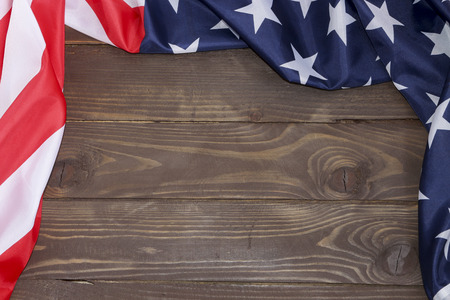 American flag wooden background.The Flag Of The United States Of America. The place to advertise, template.The view from the top. Foto de archivo