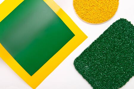 The plastic granules. Polymeric dye and polypropylene , polystyrene film made of plastic pellets.